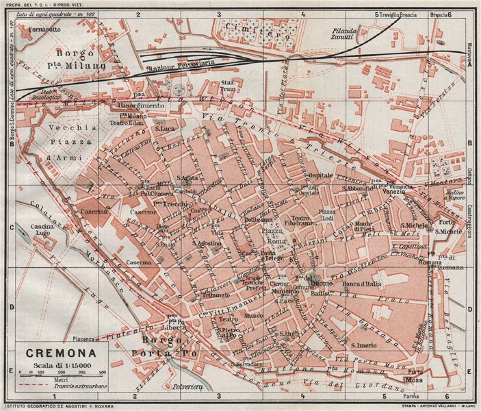 Associate Product CREMONA. Vintage town city map plan. Italy 1924 old vintage chart