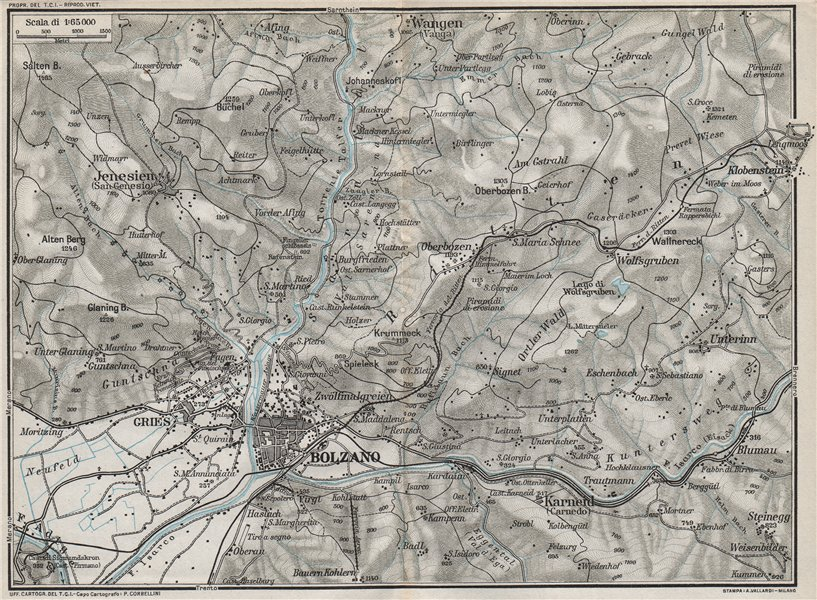 Associate Product BOLZANO & ENVIRONS. Vintage map plan. Italy 1924 old vintage chart