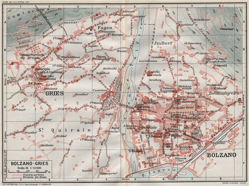 Associate Product BOLZANO-GRIES. Vintage town city map plan. Italy 1924 old vintage chart