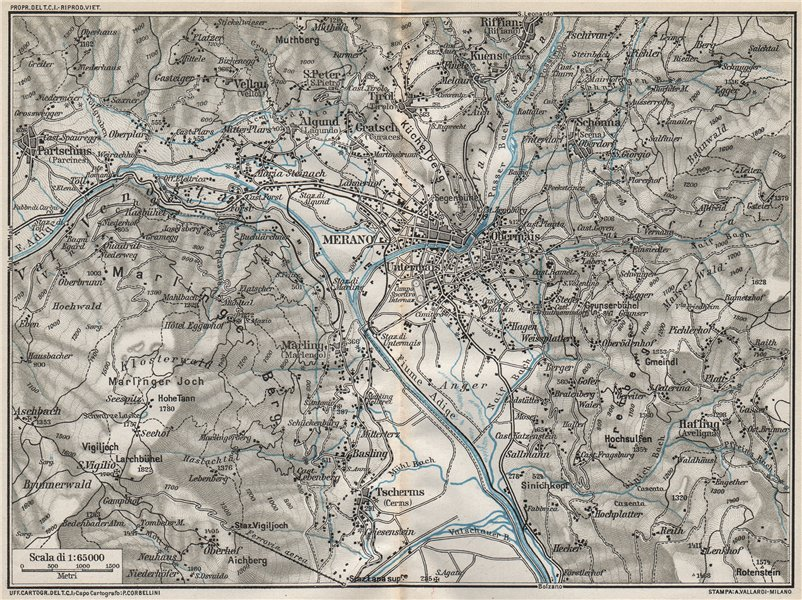 MERANO & ENVIRONS. Vintage map plan. Italy 1924 old vintage chart