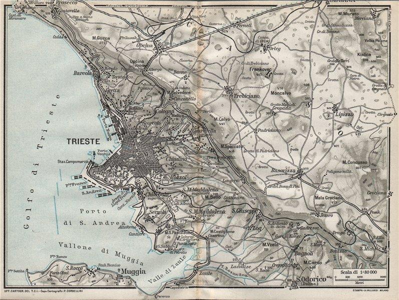 TRIESTE & ENVIRONS. Vintage town city map plan. Italy 1924 old vintage