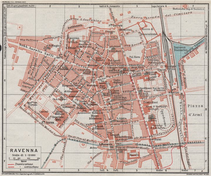 Associate Product RAVENNA. Vintage town city map plan. Italy 1924 old vintage chart
