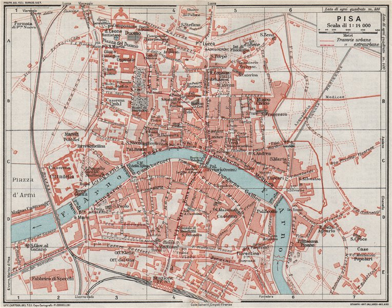 Associate Product PISA. Vintage town city map plan. Italy 1924 old vintage chart