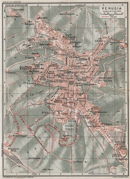 Associate Product PERUGIA. Vintage town city map plan. Italy 1924 old vintage chart