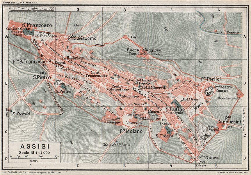 Associate Product ASSISI. Vintage town city map plan. Italy 1924 old vintage chart