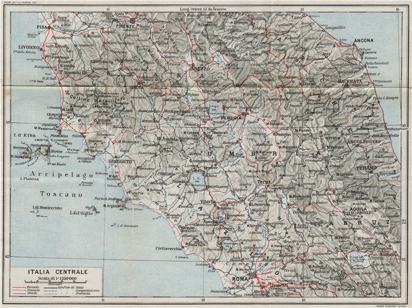 Associate Product ITALIA CENTRALE. Vintage map plan. Central Italy. Railways 1924 old
