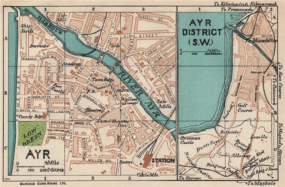 Associate Product AYR & DISTRICT. Vintage town city map plan. Scotland 1932 old vintage