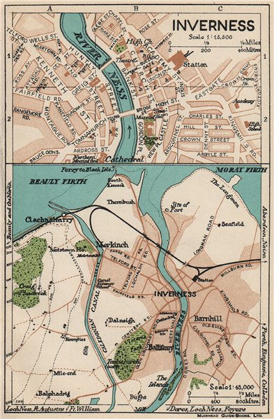 INVERNESS. Vintage town city map plan. Scotland 1932 old vintage chart
