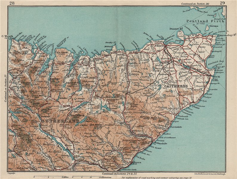 Associate Product NW SCOTLAND. Sutherland & Caithness. Vintage map plan. Scotland 1932 old