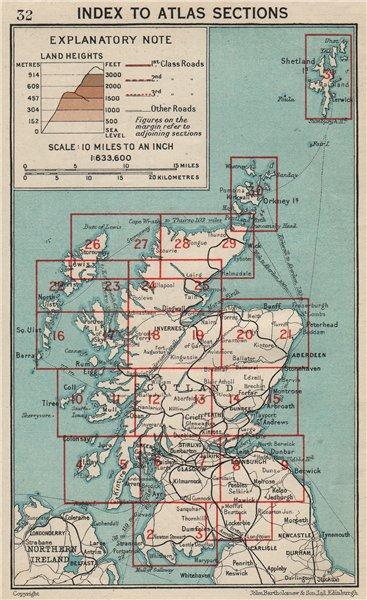 Associate Product SCOTLAND. Index map. Vintage map plan 1932 old vintage chart