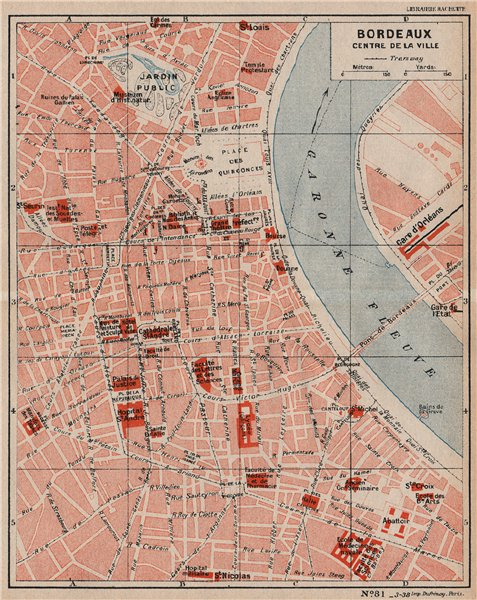 Associate Product BORDEAUX. Centre de la ville. Vintage town city map plan. Gironde 1933 old