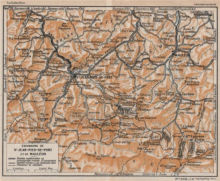 Associate Product ST JEAN-PIED-DE-PORT & MAULÉON. Environs. Pyrénées-Atlantiques vintage map 1933