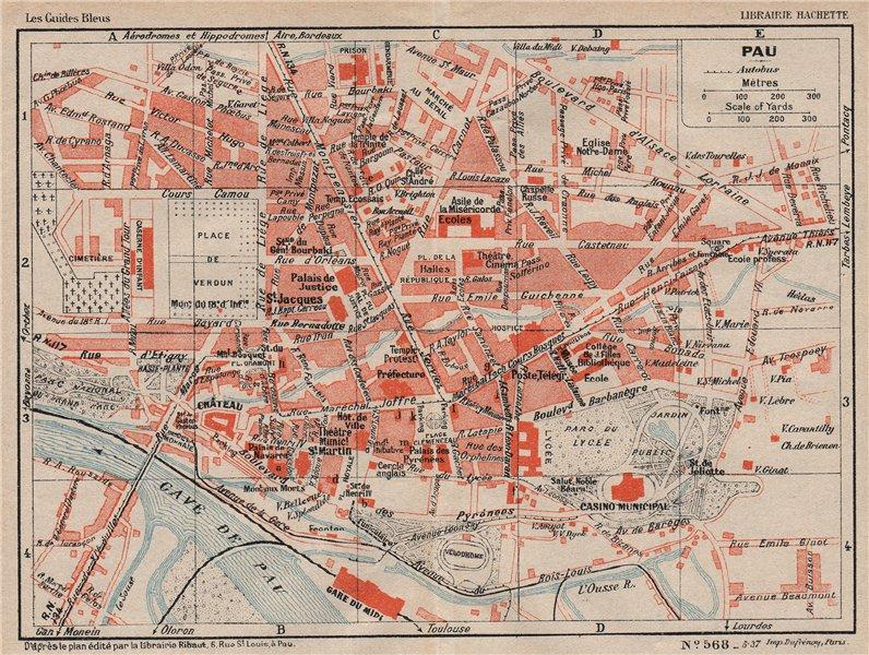 Associate Product PAU. Vintage town city map plan. Pyrénées-Atlantiques 1933 old