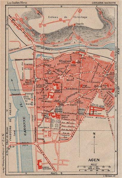 Associate Product AGEN. Vintage town city map plan. Lot-et-Garonne 1933 old vintage chart