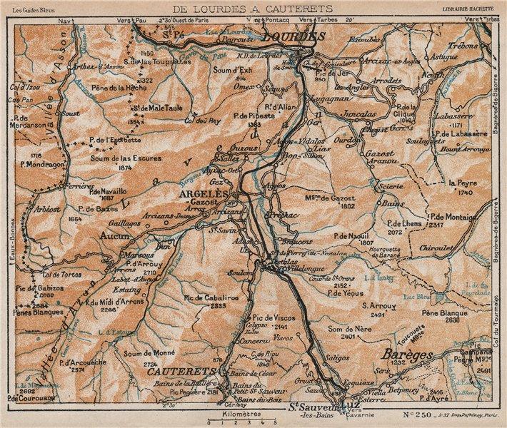 Associate Product LOURDES ARGELÈS CAUTERETS. Vintage map plan. Hautes-Pyrénées 1933 old