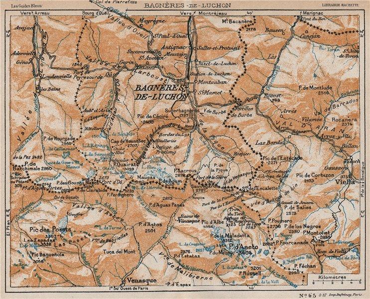 Associate Product BAGNÈRES-DE-LUCHON ENVIRONS. Vintage map plan. Haute-Garonne 1933 old
