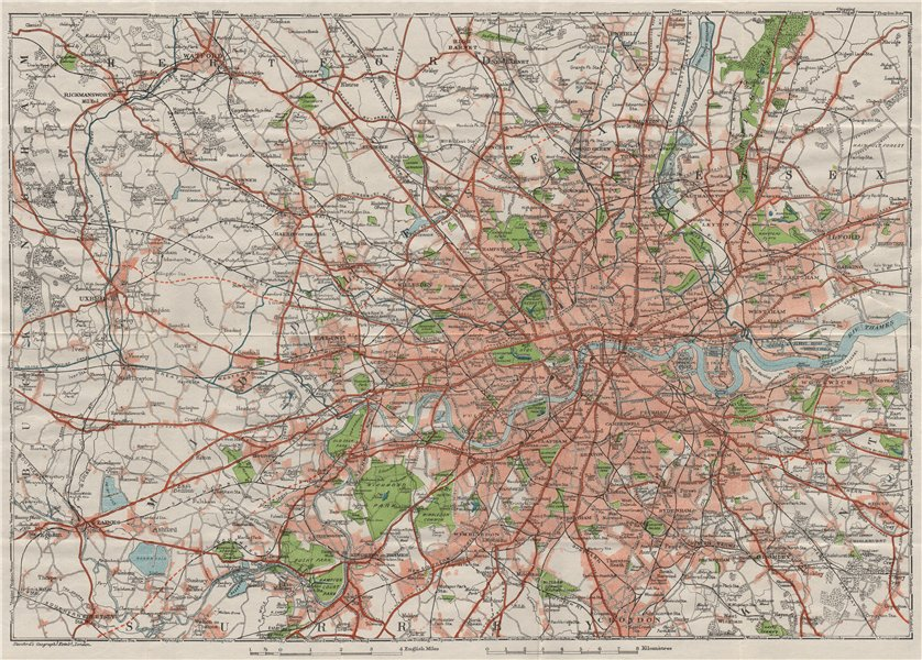 Associate Product GREATER LONDON. Shows projected A40 & A316. Vintage city plan. London 1930 map