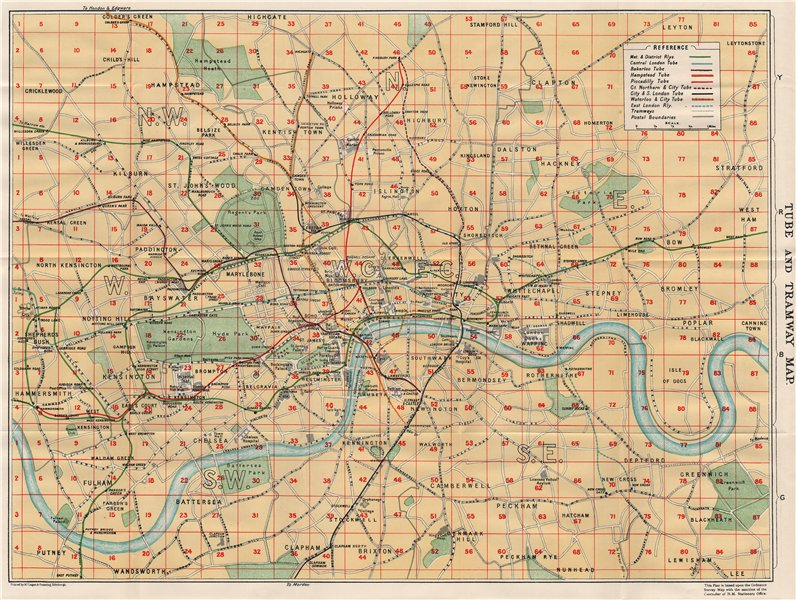 Associate Product LONDON TUBE & TRAMWAY MAP. Underground. Postal districts. Vintage map plan 1930