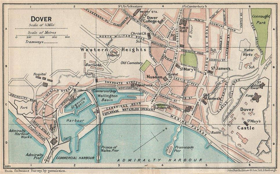 Associate Product DOVER. Vintage town city map plan. Kent 1930 old vintage chart