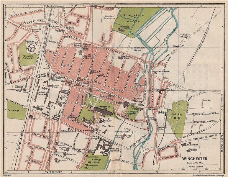 Associate Product WINCHESTER. Vintage town city map plan. Hampshire 1930 old vintage chart