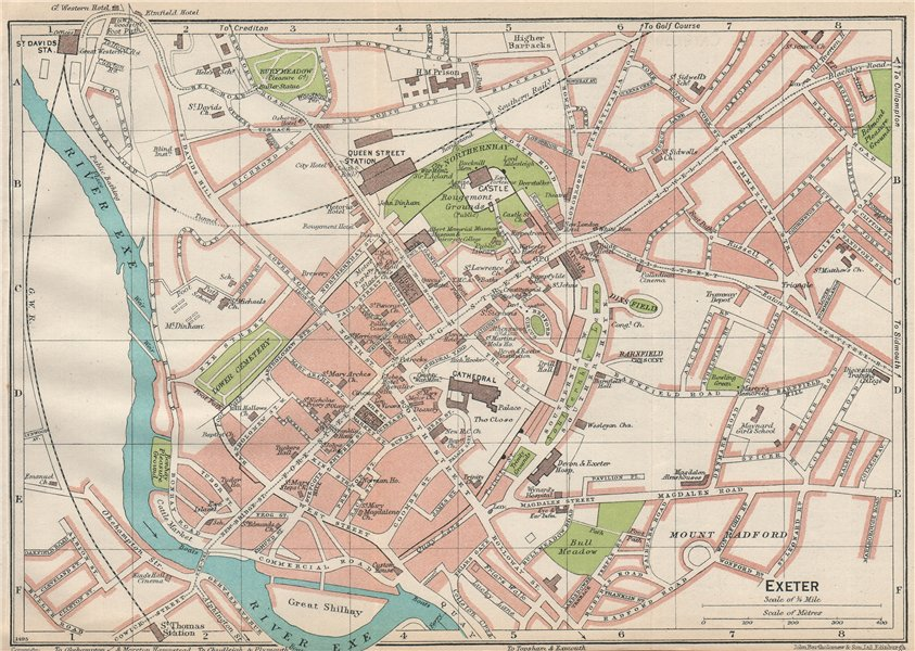 Associate Product EXETER. Vintage town city map plan. Devon 1930 old vintage chart