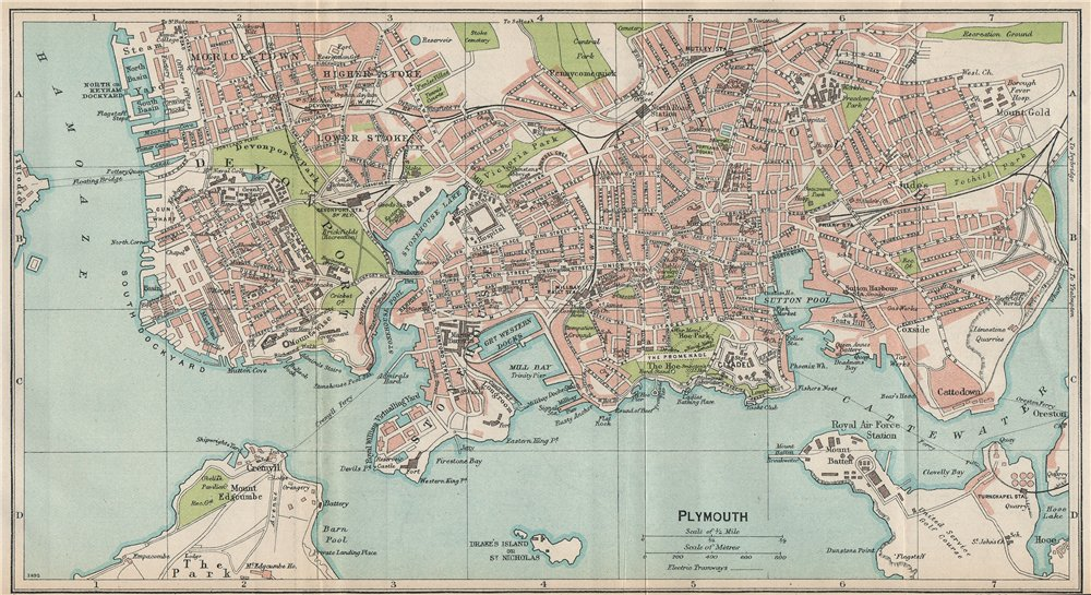Associate Product PLYMOUTH. Vintage town map plan. Devonport Stonehouse Morice Town Stoke 1930