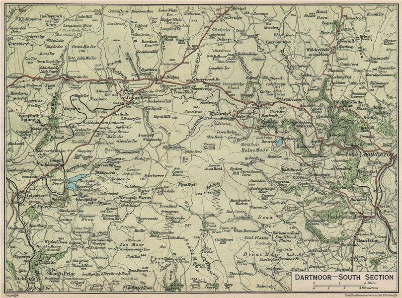 Associate Product DARTMOOR SOUTH. Ashburton Buckfastleigh Yelverton. Vintage map plan. Devon 1930