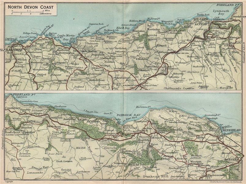 Associate Product NORTH DEVON COAST. Ilfracombe-Lynton-Minehead. Vintage map plan 1930 old