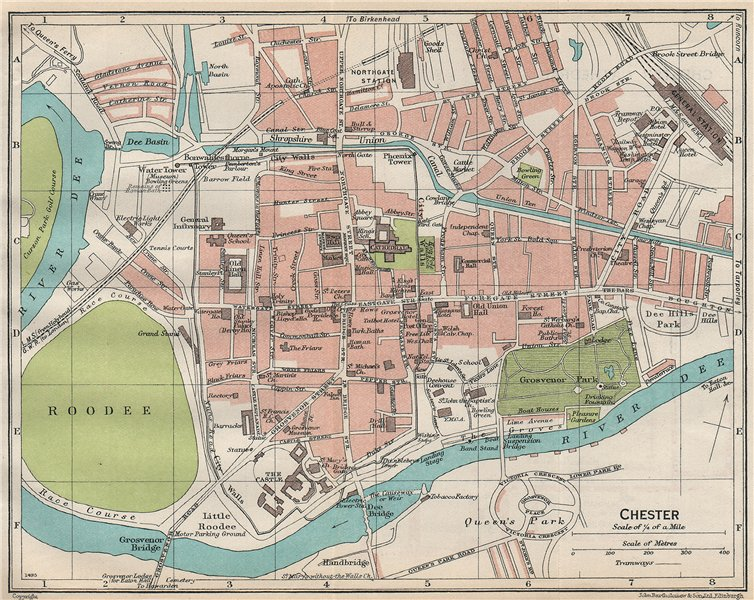 Associate Product CHESTER. Vintage town city map plan. Cheshire 1930 old vintage chart