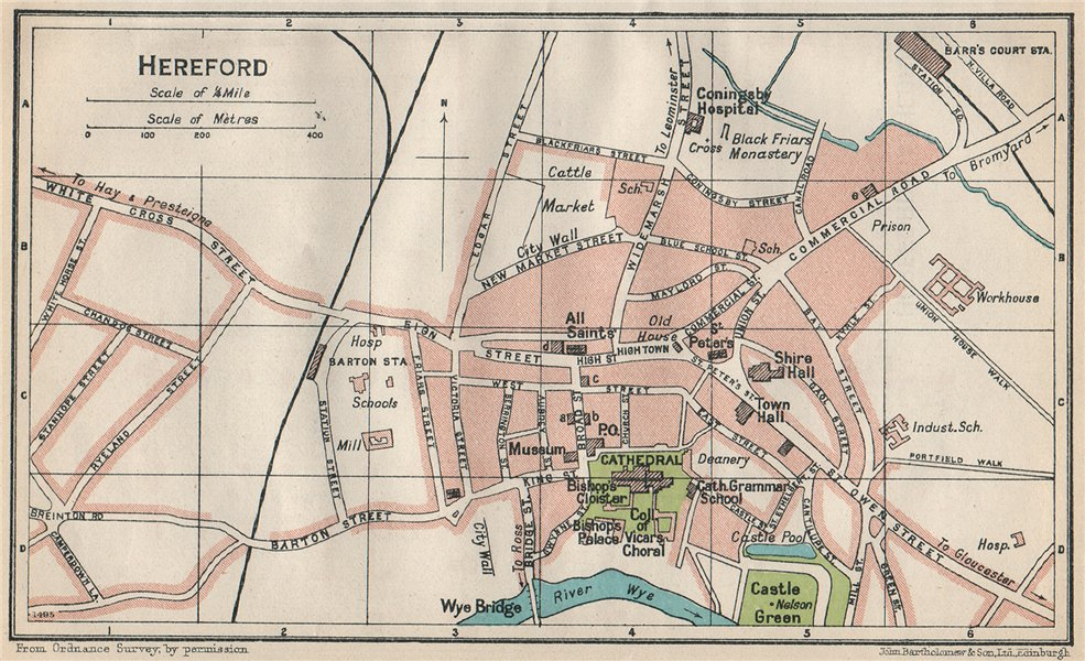 Associate Product HEREFORD. Vintage town city map plan. Herefordshire 1930 old vintage chart