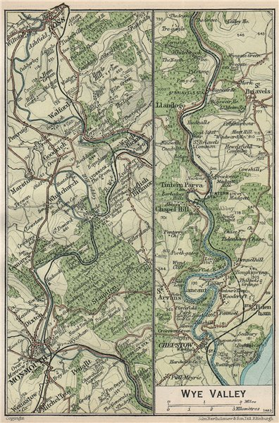 Associate Product WYE VALLEY. Vintage map plan. Monmouth Ross-on-Wye Chepstow 1930 old