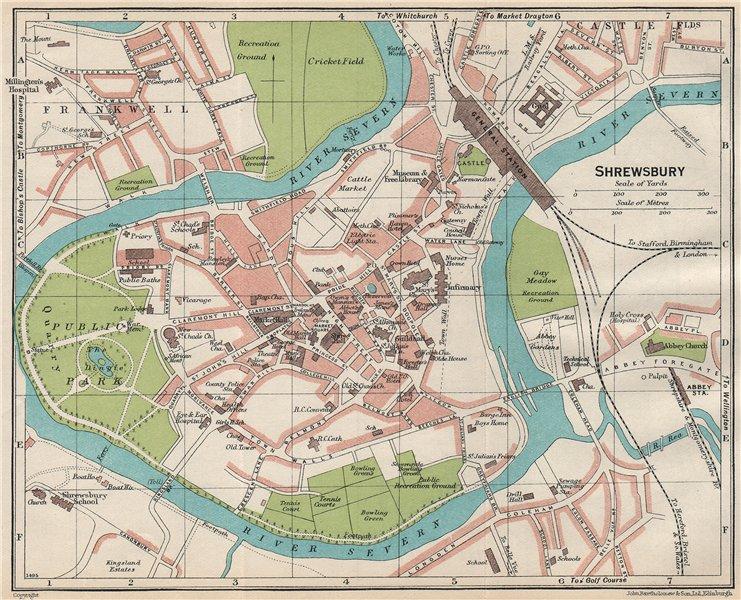 Associate Product SHREWSBURY. Vintage town city map plan. Shropshire 1930 old vintage chart