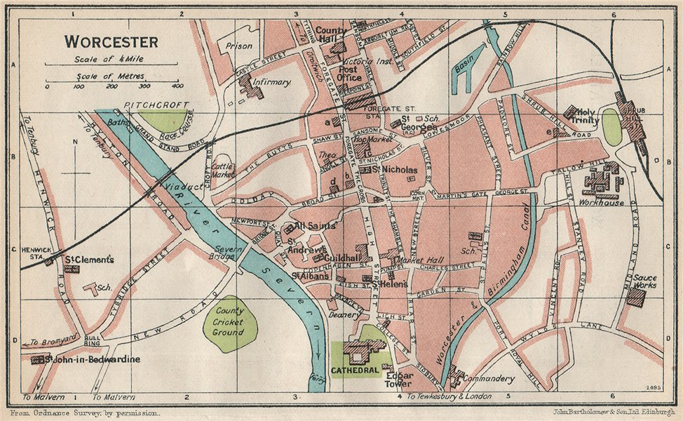 Associate Product WORCESTER. Vintage town city map plan. Worcestershire 1930 old vintage