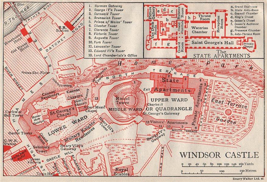 Associate Product WINDSOR CASTLE. Vintage map plan. Berkshire 1930 old vintage chart