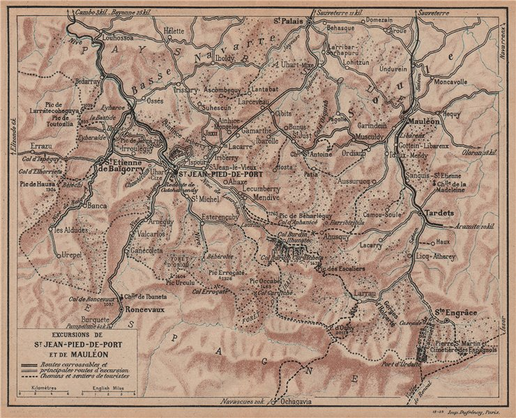 Associate Product ST JEAN-PIED-DE-PORT & MAULÉON. Environs. Pyrénées-Atlantiques. Hiking 1921 map