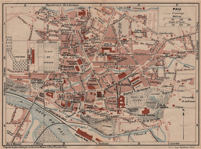 Associate Product PAU. Vintage town city map plan. Pyrénées-Atlantiques 1921 old