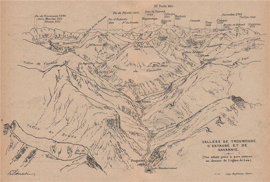 VALLÉES TROUMOUSE ESTAUBÉ GAVARNIE. Gèdre Pragnères. Panorama. Pyrénées 1921 map