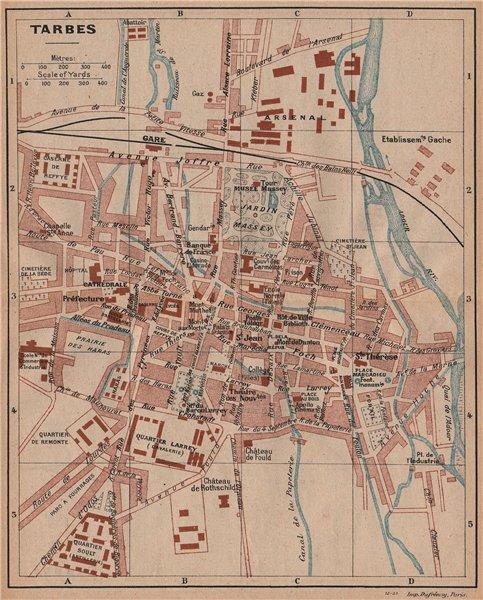 Associate Product TARBES. Vintage town city map plan. Hautes-Pyrénées 1921 old vintage chart
