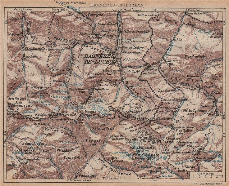Associate Product BAGNÈRES-DE-LUCHON ENVIRONS. Vintage topo-guide. Haute-Garonne 1921 old map