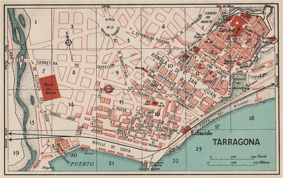 Map Of Spain 1930.Details About Tarragona Vintage Town City Map Plan Spain 1930 Old Vintage Chart