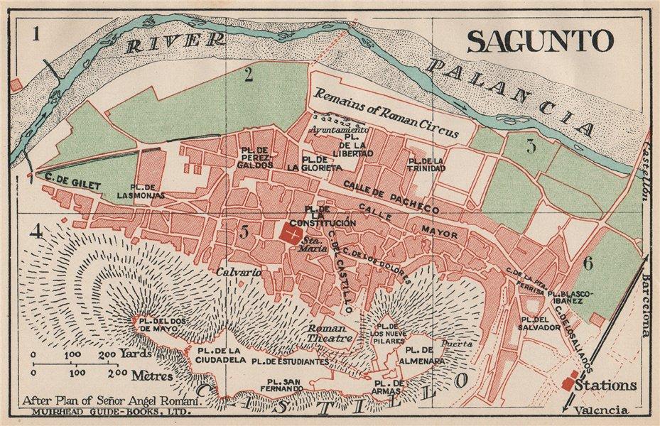 SAGUNTO. Vintage town city map plan. Spain 1930 old vintage chart