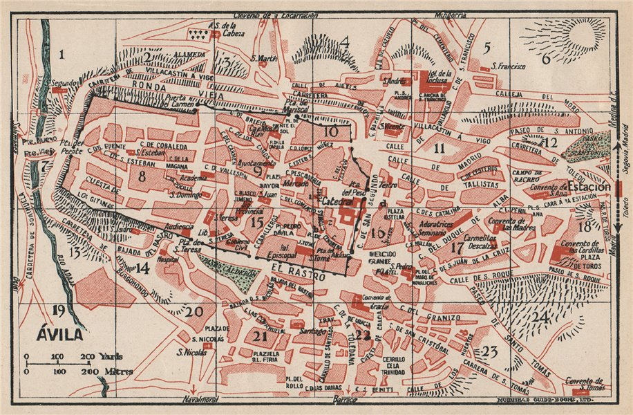 Map Of Spain 1930.Details About Avila Avila Vintage Town City Map Plan Spain 1930 Old Vintage Chart