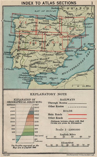 Associate Product SPAIN INDEX MAP. Vintage map plan 1930 old vintage chart