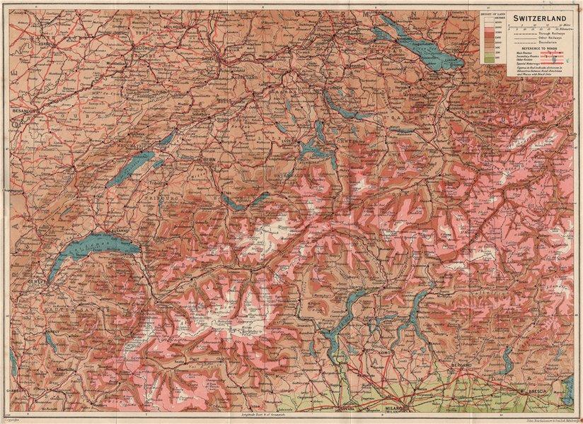 Associate Product SWITZERLAND RELIEF. Vintage map plan. Roads. Suisse Schweiz 1948 old