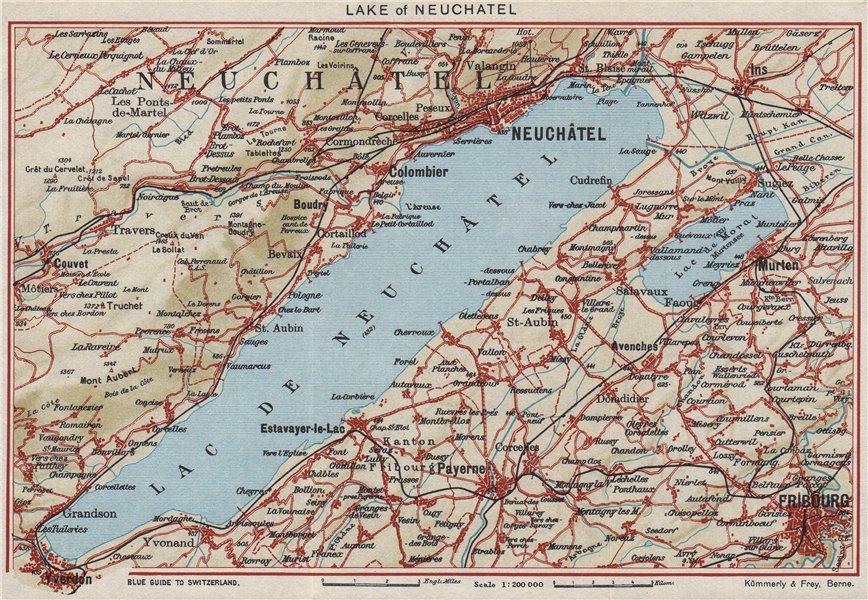Associate Product LAKE OF/LAC DE NEUCHÂTEL. Switzerland. Neuchatel Fribourg Yverdon 1948 old map