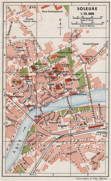 Associate Product SOLEURE. Vintage town city map plan. Switzerland 1948 old vintage chart