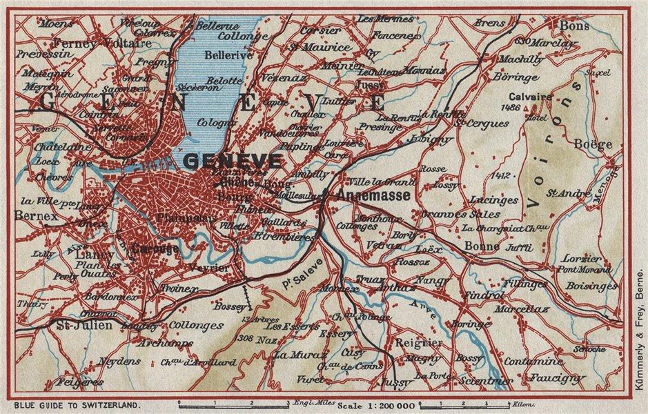 Associate Product ENVIRONS OF GENEVA GENÈVE GENF. Vintage map plan. Switzerland 1948 old