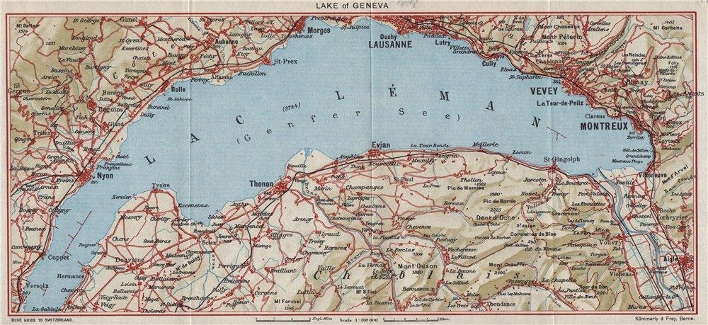 Associate Product LAKE OF GENEVA. Lac Léman. Montreux Lausanne Vevy Nyon. Switzerland 1948 map