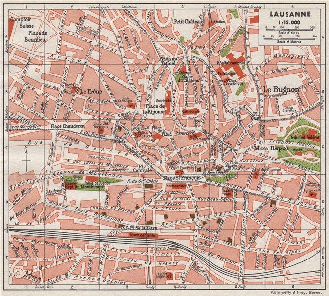 Associate Product LAUSANNE. Vintage town city map plan. Switzerland 1948 old vintage chart