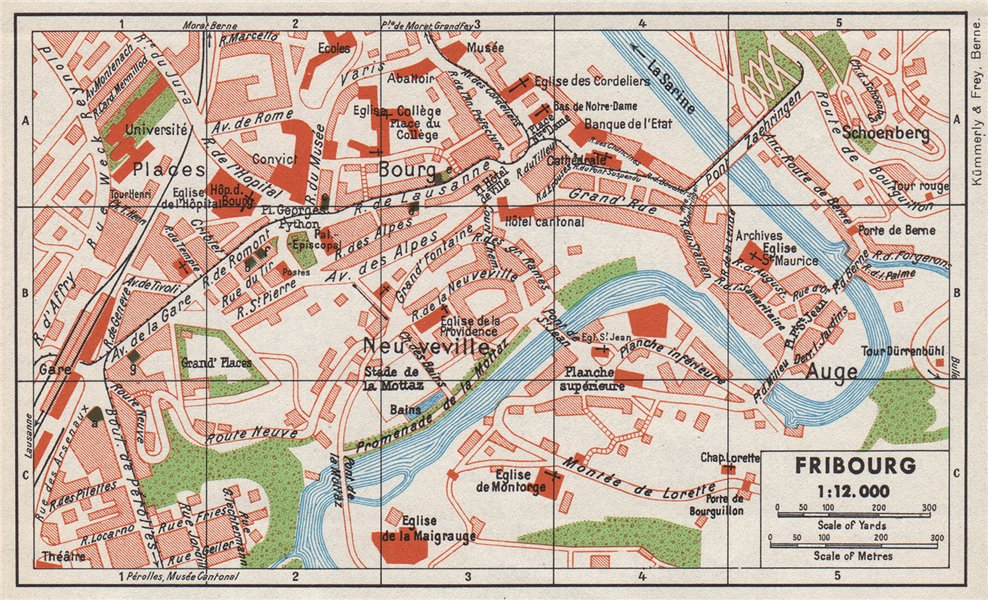 Associate Product FRIBOURG. Vintage town city map plan. Switzerland 1948 old vintage chart